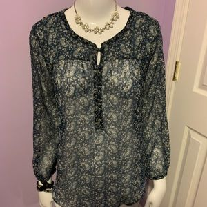 Lucky Brand Sheer Blue Floral Top Sweet Boho L